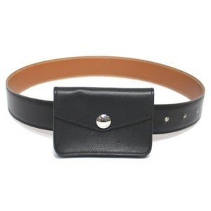 HERMES Leather Belt With Attachment Pouch Buckle